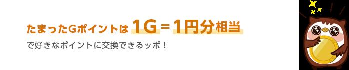 たまったGポイントは1ポイント=1円分相当で好きなポイントに交換できるッポ!