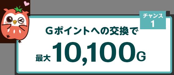 チャンス1 他サービスのポイントをGポイントに交換で最大10,100Gゲットのチャンス!
